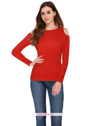Latest Fashion Tipsy Red Plain T Shirt For Girl