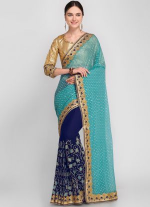 Latest Firozi Indian Party Wear Fancy Sarees