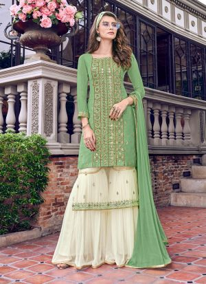 Latest Green Tussar Satin Designer Sharara Suit For Party