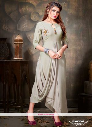 Latest Grey Rayon Plain Fancy Style Kurti Design