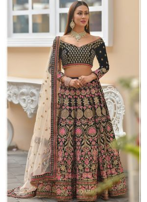 Latest Indian 9000 Velvet Navy  Designer Lehenga Choli