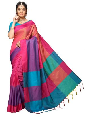 Latest Indian Fashion Handloom Chex Silk Multi Colour Saree