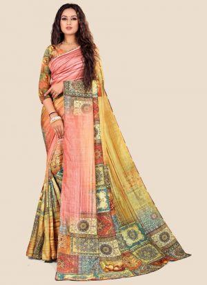 Latest Indian Fashion Katki Silk Multi Color Saree