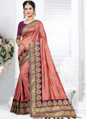 Latest Indian Fashion Two Tone Vichitra Silk Embroidered Saree
