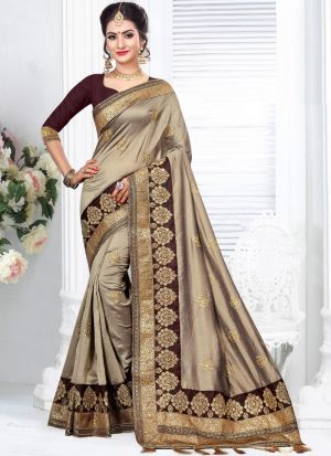 Latest Indian fashion Two Tone Vichitra Silk Saree For Wedding