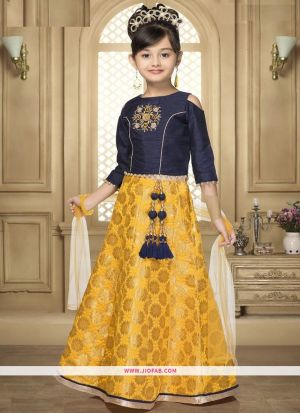 Latest Indian Traditional Wear Yellow And Navy Lehenga Choli For Kids
