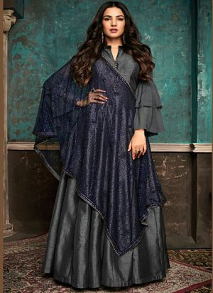 Latest Launch Pure Silk Grey Gown Style Anarkali Suit For Ceremony