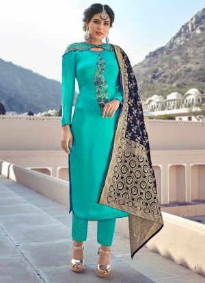 Latest Launch Satin Georgette Turquoise Straight Cut Suit For Ceremony
