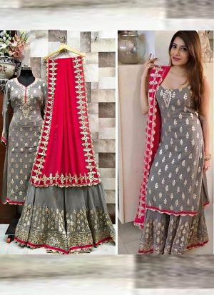 Latest Launched Grey Thread Work Salwar Suit