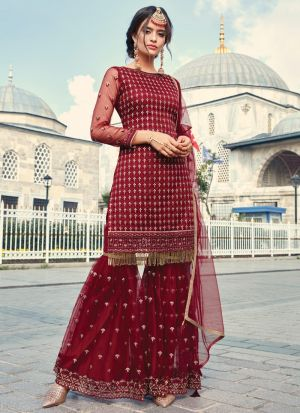 Latest Maroon Net Designer Sharara Suit For Wedding