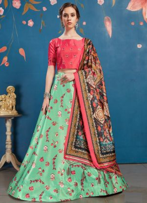 Latest Mint Green Art Silk Lehenga Choli
