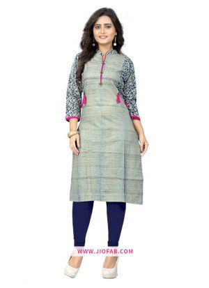 Latest Multi Color Cotton Fabric Printed Stitched Traditional Kurti