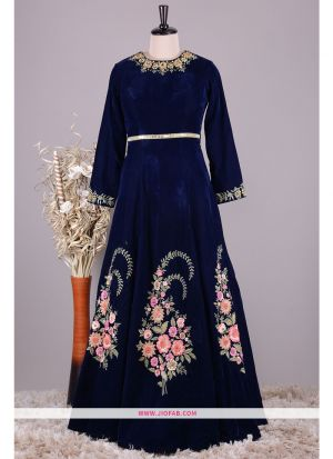 Latest Navy Hand Work Velvet Gown For Partywear