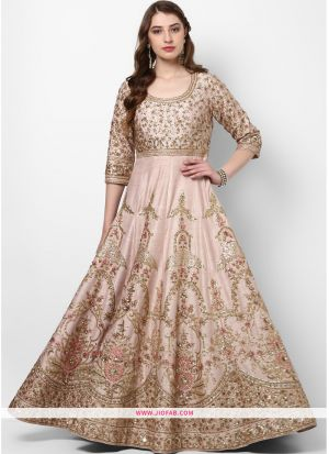Latest Peach Zari Embroidery Bridal Silk Gown For Partywear