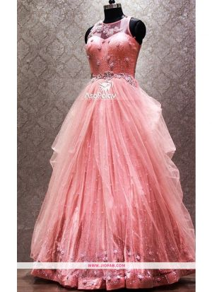 Latest Pink Color Bridal Net Gown For Partywear