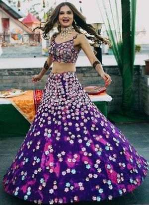 Latest Purple Wedding Wear Taffeta Silk Lehenga Choli