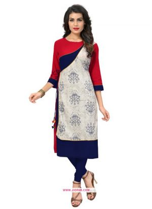 Latest Red And Blue Cotton Print Kurti Design For Girl