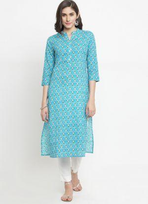 Latest Sky Blue Pure Cotton Kurti Design