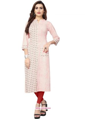 Latest White Flex Cotton Printed Kurti Design For Girl