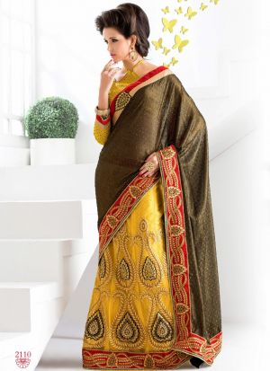 Latest Yellow Indian Party Wear Fancy Sarees