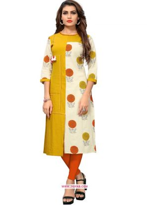 Latest Yellow Slub Cotton Printed Kurti Design For Girl