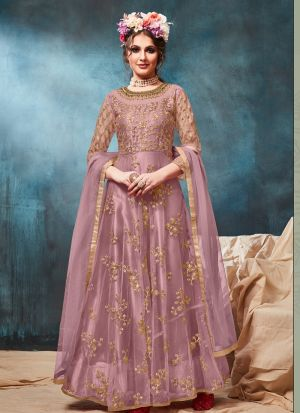 Lavender Color Net Traditional Floor Length Anarkali Suit