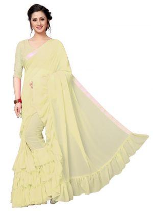 Lemon Designer Ruffle Sarees For Raksha Bandhan Gift