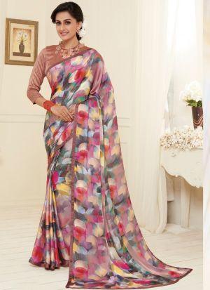 Letest Design New Multi Color Satin Georgette Printed Saree