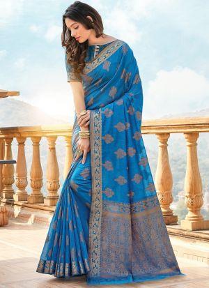 Light Blue Traditional South Indian Wedding Cotton Handloom Saree