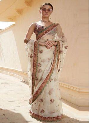 Light Cream Color Bollywood Style Designer Saree