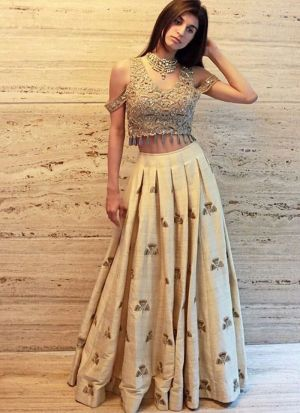 Light Cream Malbari Silk Hit Design Partywear Lehenga Choli