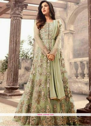 Light Green Color Beautiful Traditional Gown Style Floor Length Salwar Suit