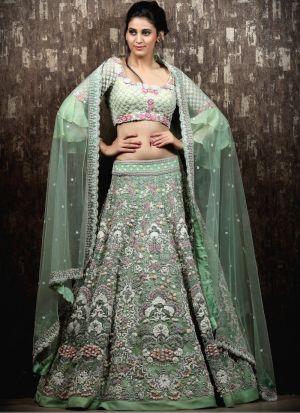 Light Green Tafetta Silk Fancy Thread Work Lehenga Choli With Mono Net Dupatta