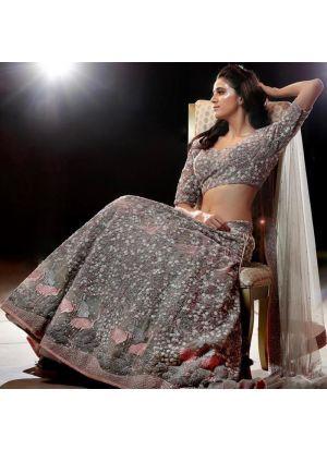 Light Grey Mono Net Fancy Thread Work Lehenga Choli With Mono Net Dupatta