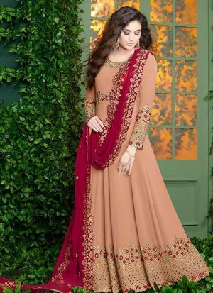 Light Orange Foux Georgette Designer Floor Lenth Salwar Suit