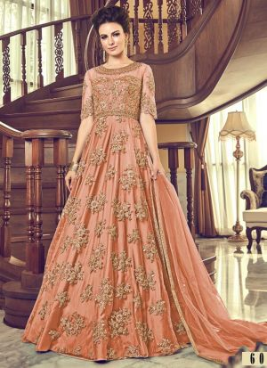 Light Orange Heavy Net Designer Floor Lenth Salwar Suit