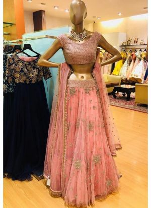 Light Peach Butterfly Mono Net Designer Lehenga Choli