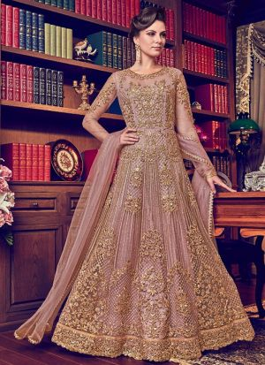 Light Peach Heavy Net Designer Floor Length Salwar Suit