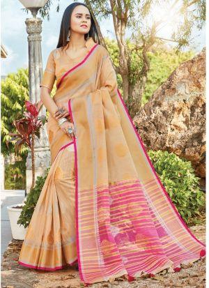 Light Peach South Indian Linen Cotton Designer Saree