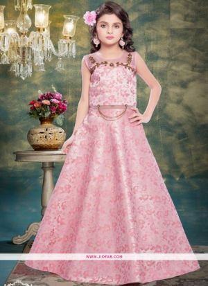 Light Pink Color Indian Kids Gown For Girl