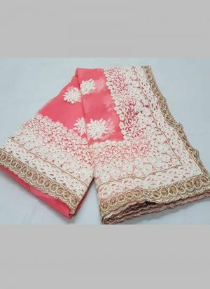Light Pink Naylon Net Festive Wear Saree