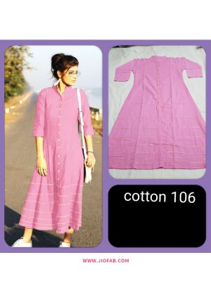 Light Pink Summer Highway Slub Cotton Heavy Quality Kurti