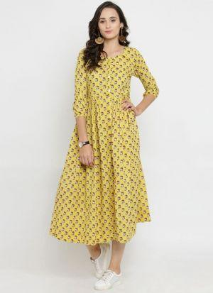 Light Yellow Pure Cotton Latest Kurti Design