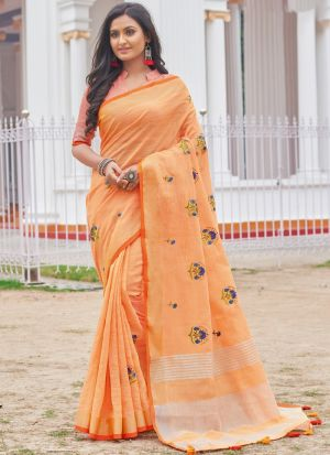 Linen Cotton Light Orange Color Indian Wear Saree