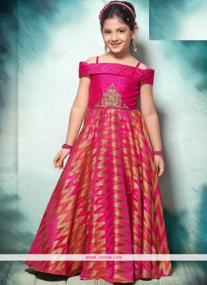 Lotus Pink Color Indian Evening Partywear Gown For Kids Girl