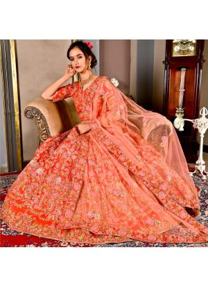 Lotus Pink Wedding Bridal Lehenga Choli In Malbari Silk With Soft Net Dupatta