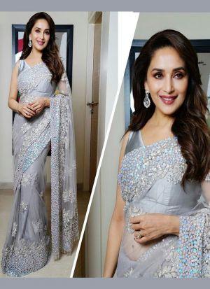 Madhuri Dixit Grey Color Designer Mono Net Saree SN 589