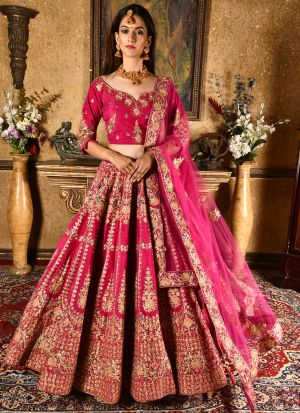 Magenta Pink Velvet Wedding Wear Indian Designer Bridal Lehenga Collection