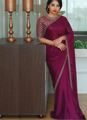 Malai Silk Purple Saree With Beautiful Blouse