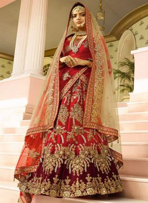 Maroon And Red Naylon Silk Designer Lehenga Choli With Thread Work SN 142
